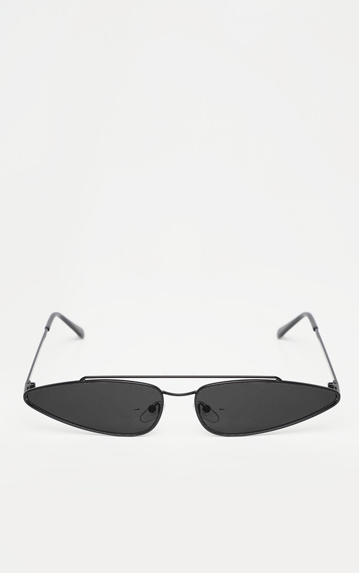 Black Narrow Pointy Retro Sunglasses 2