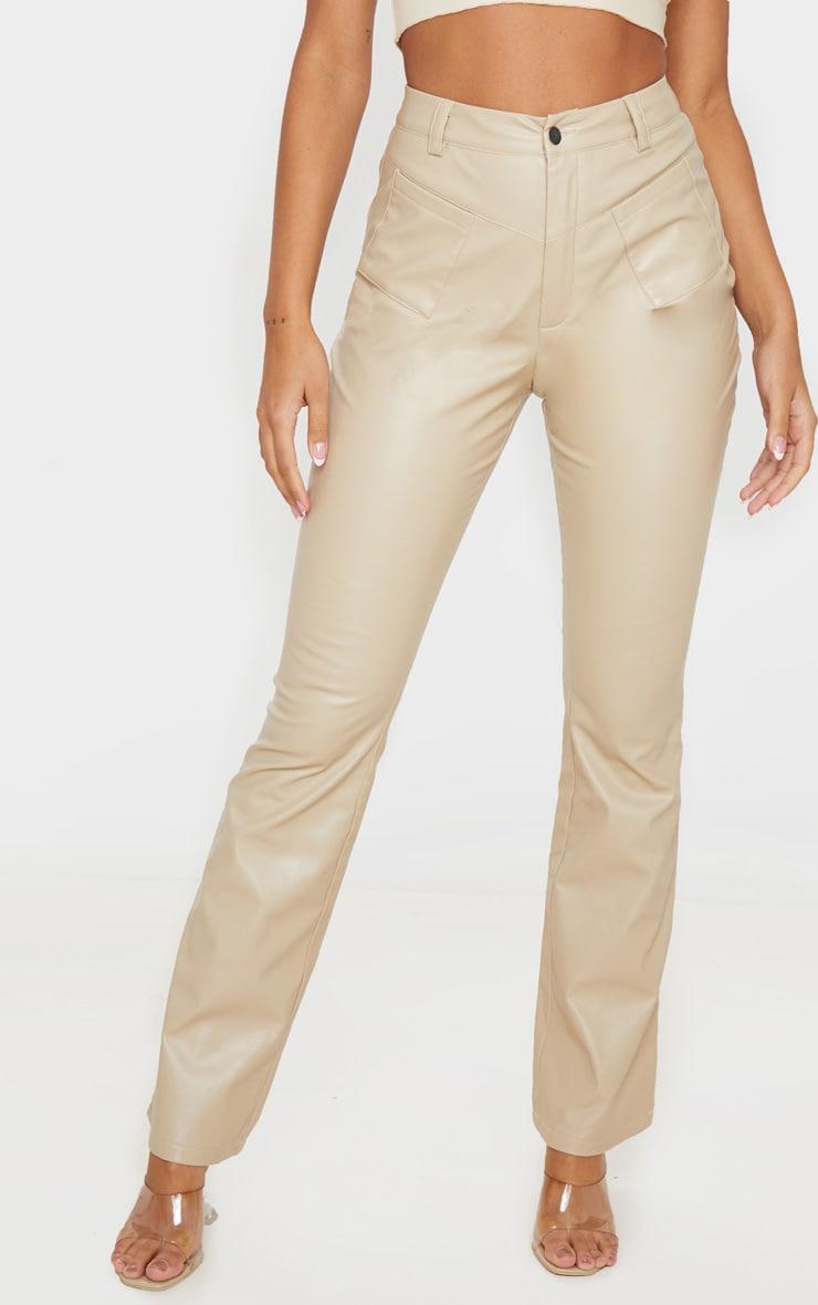 Cream Faux Leather Pocket Detail Straight Pants 2