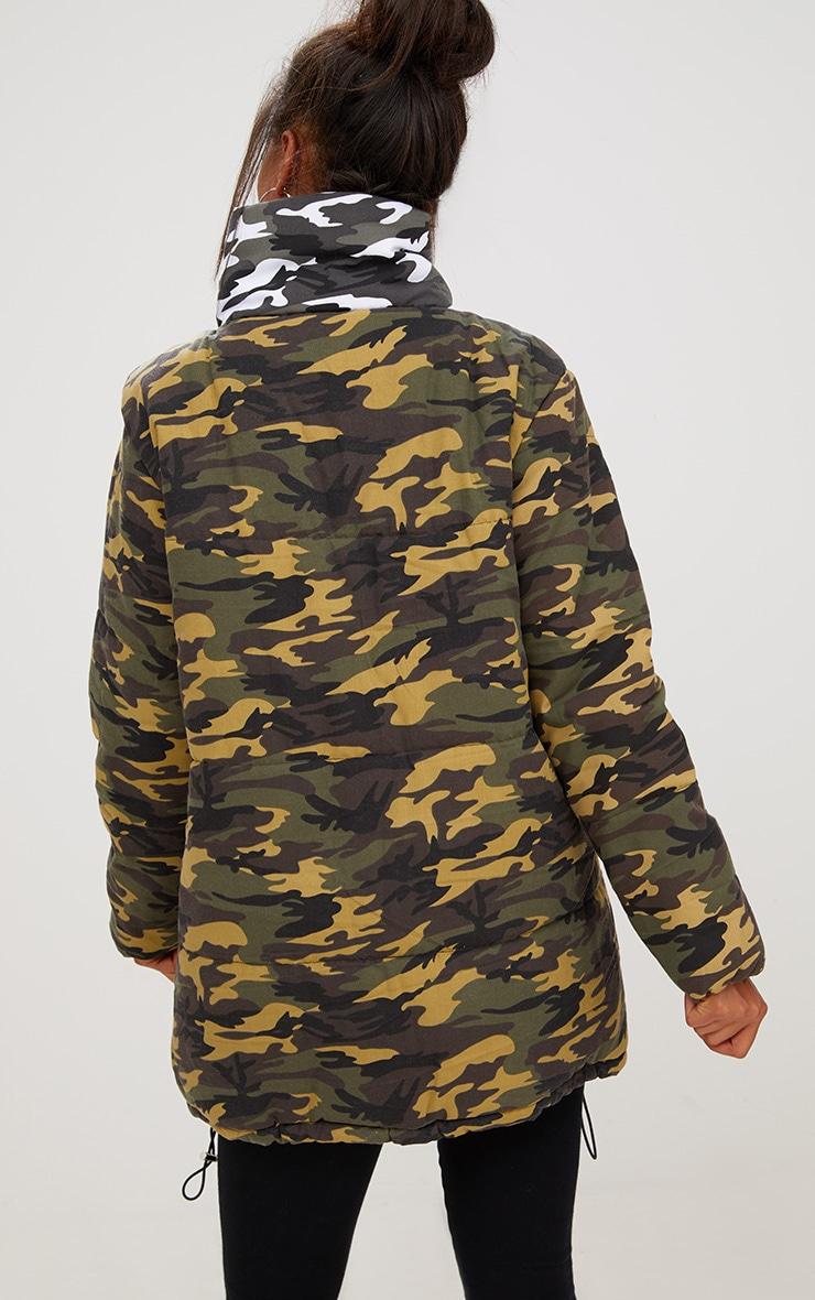 Khaki Oversized Camouflage Coat 2