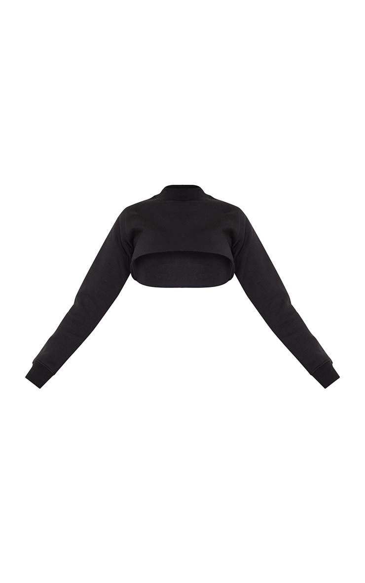 Black Super Crop Raw Edge High Neck Sweatshirt 5