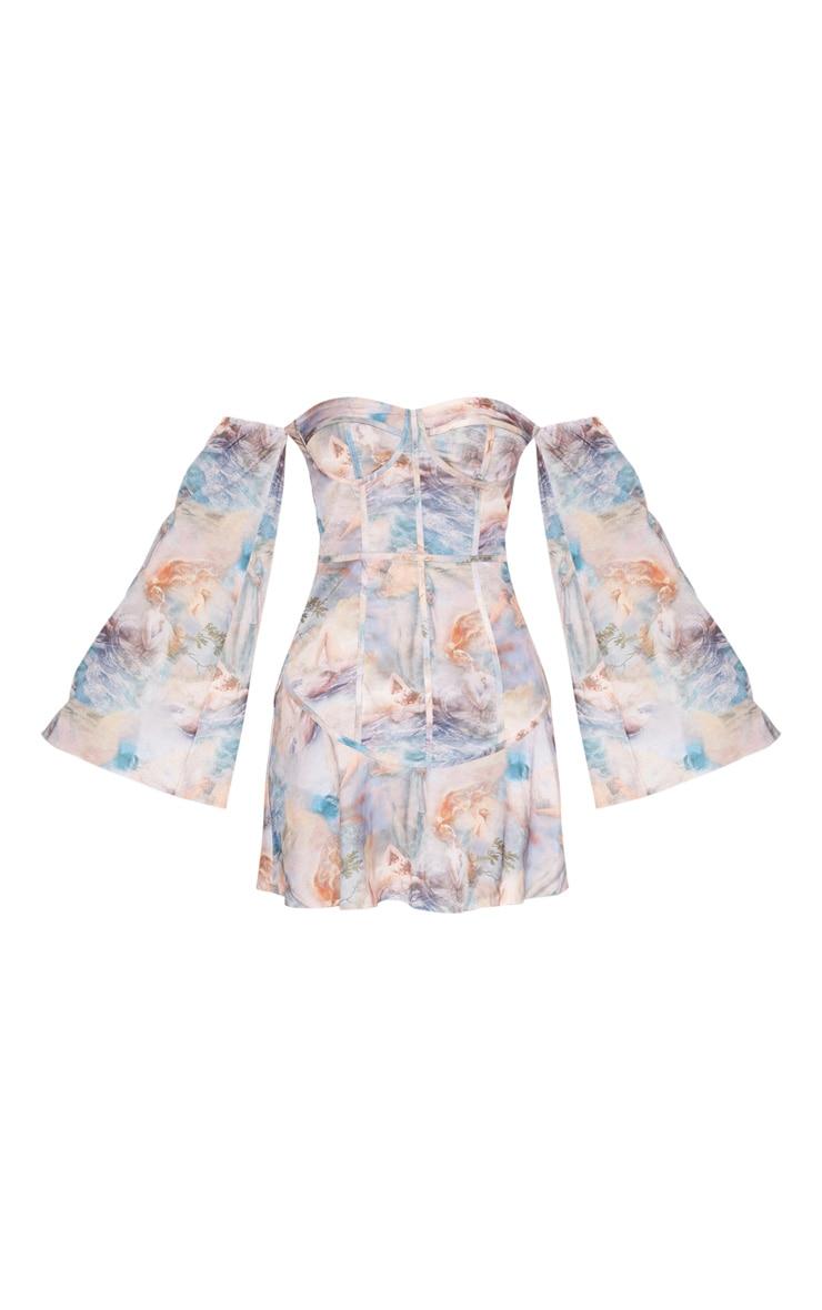 Multi Pastel Renaissance Print Bardot Binding Detail Shift Dress 3