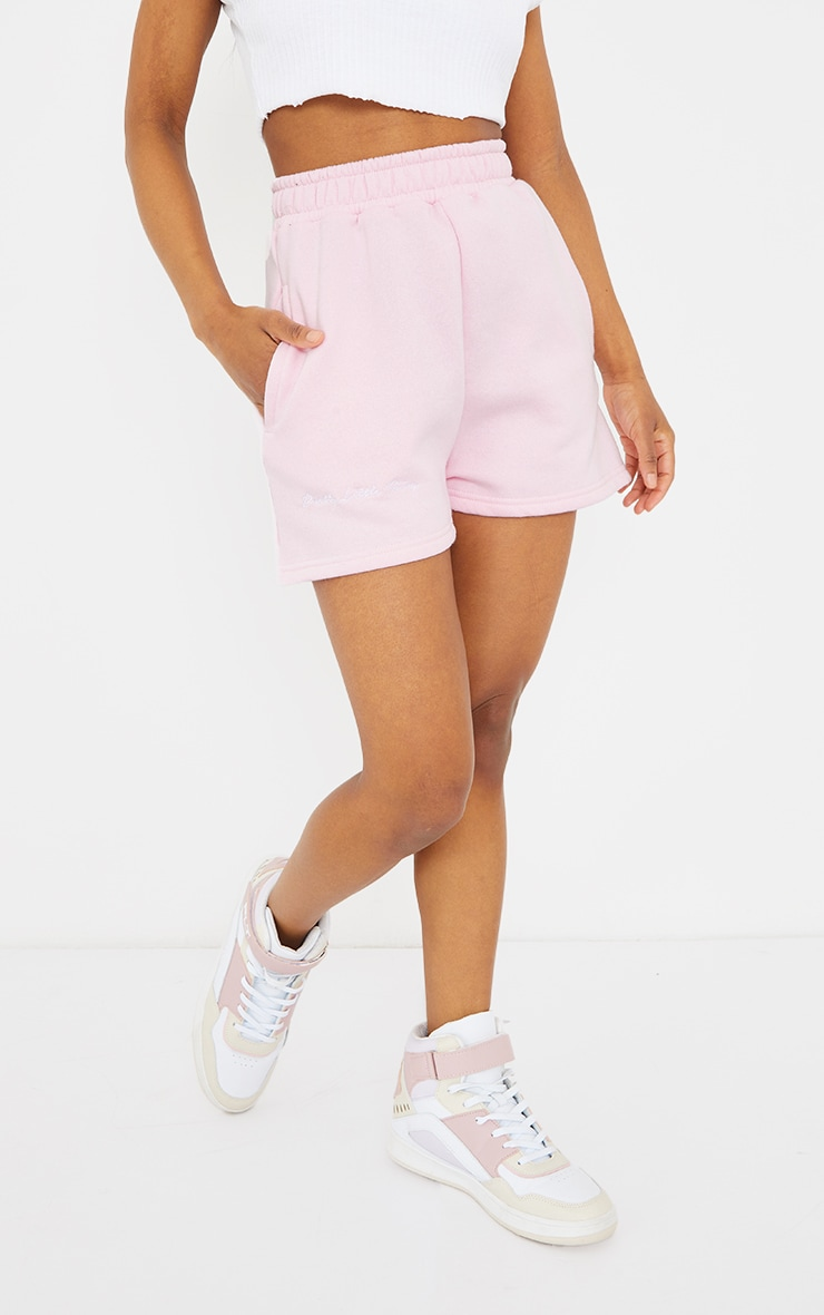 PRETTYLITTLETHING Petite Pink Sweat Shorts 2