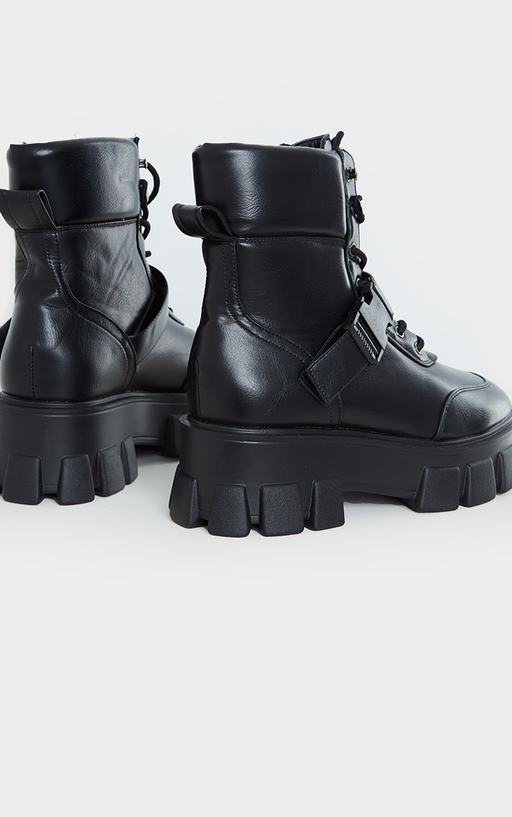 Black Extreme Chunky Sole Buckle Clasp Hiker Boots 4