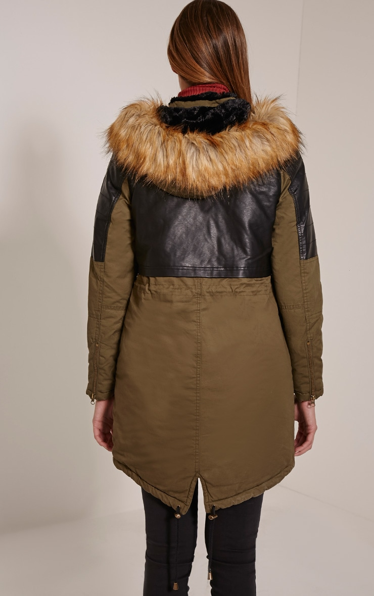 Elanor Khaki PU Panel Fur Collar Parka Jacket 2