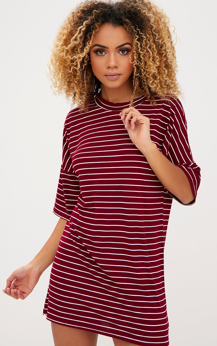 Burgundy Striped Oversized T Shirt Dress 1