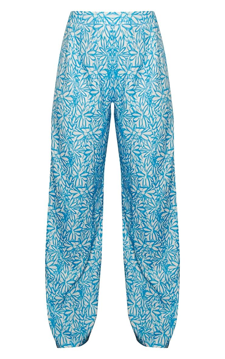 Blue Floral Print Wide Leg Pants 5