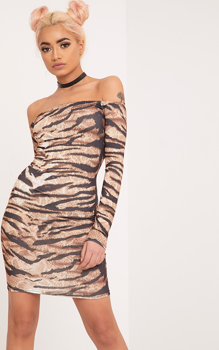 Tiger Print Brown Bardot Long Sleeve Bodycon Dress 1