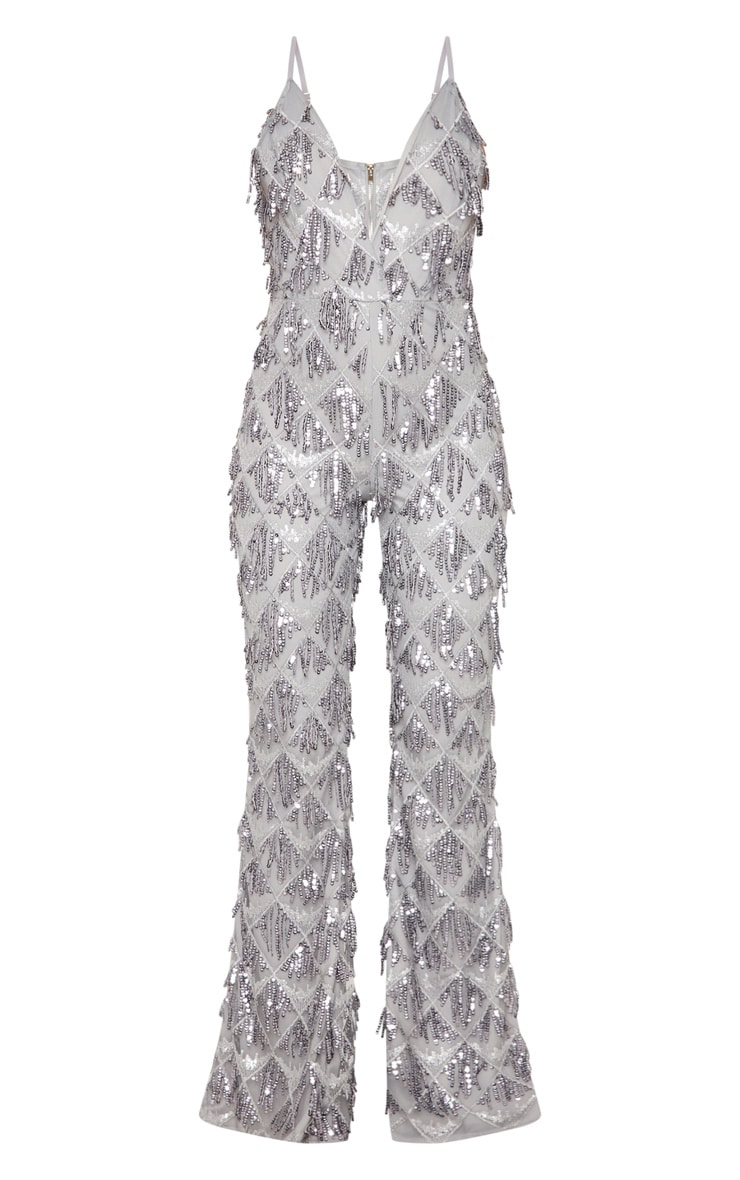Silver Sequin Tassel Plunge Jumpsuit 3