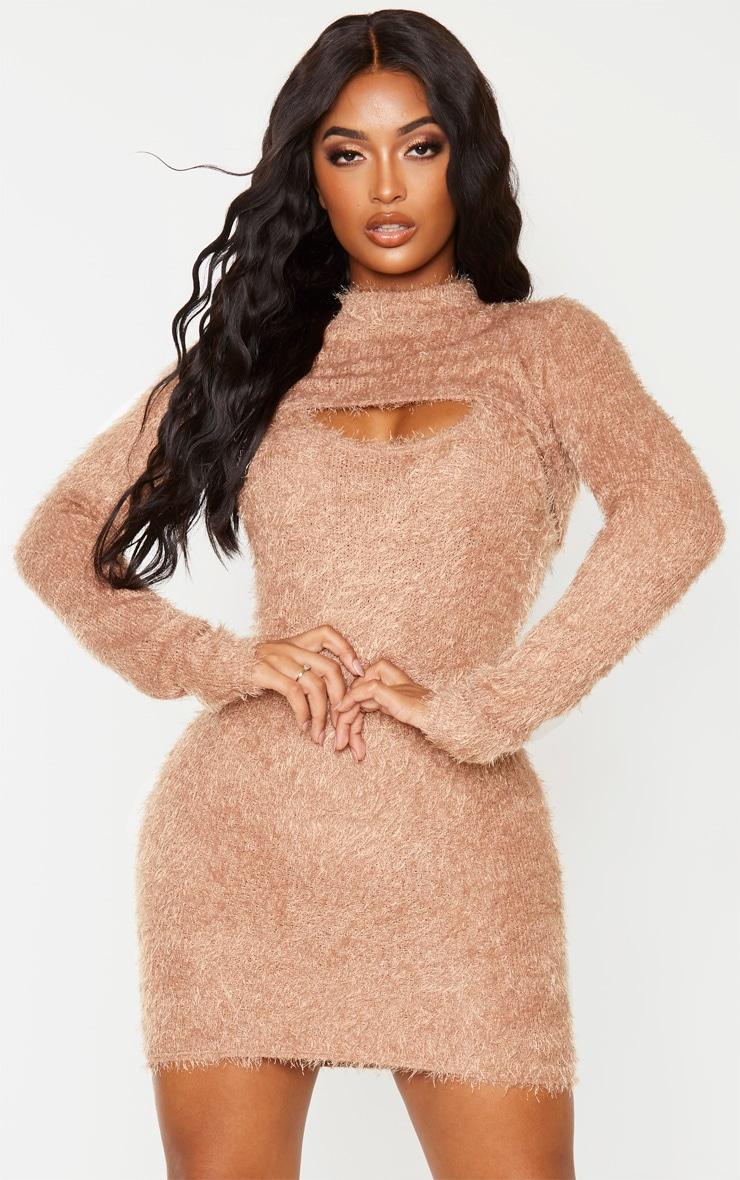 Shape Mocha Eyelash Knit Extreme Crop Top 1