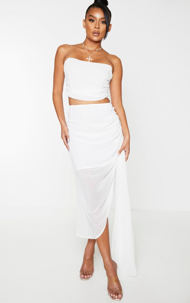 White Woven Structured Curved Crop Top 3