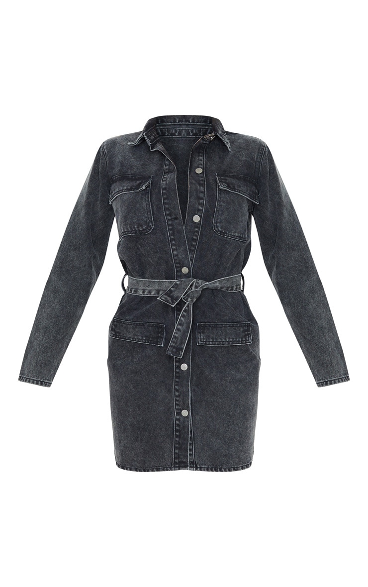 Tall Black Belted Denim Shirt Dress  3