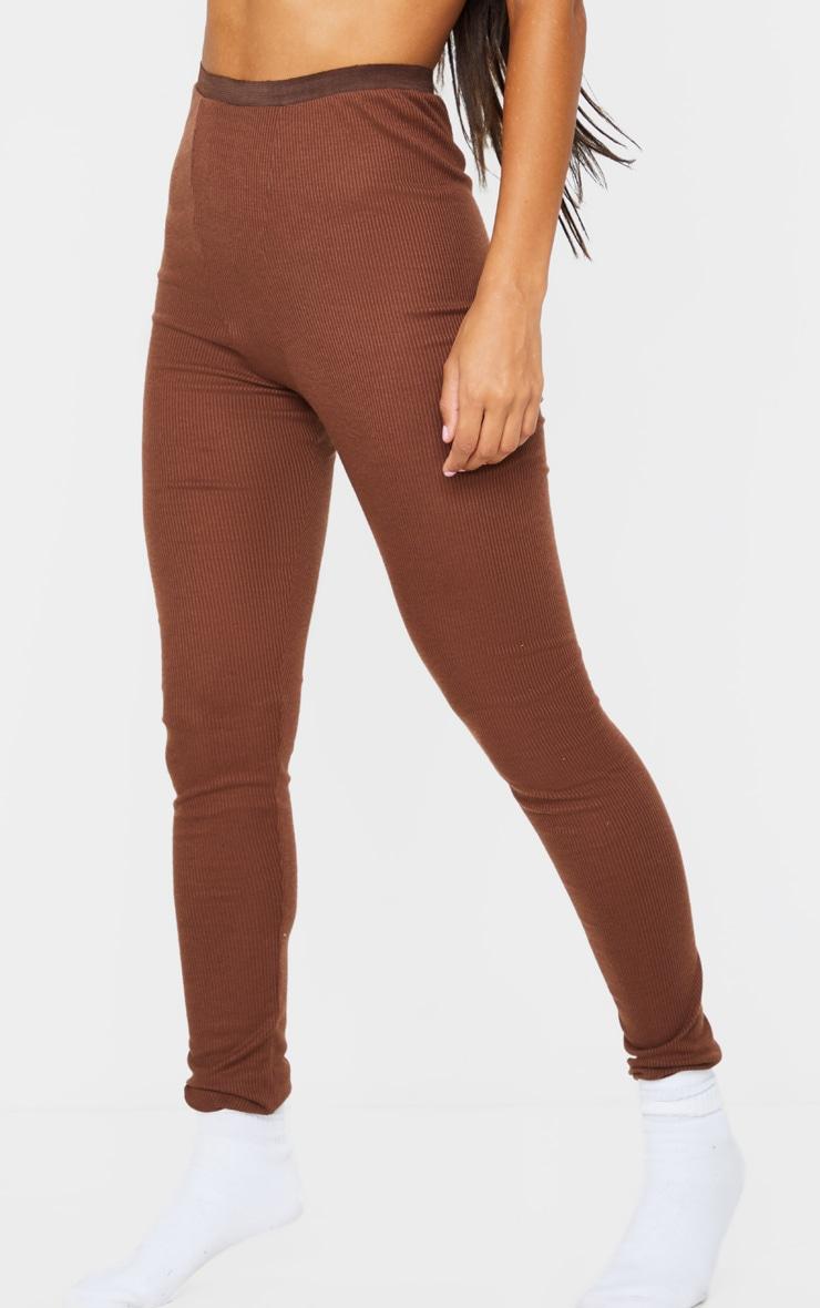 Chocolate Brown Ribbed High Waist Leggings 2