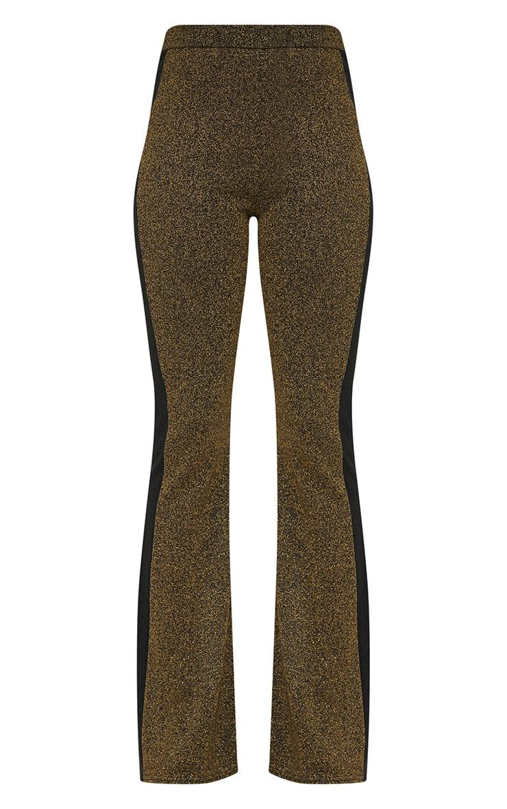 Gold Metallic Track Stripe Kick Flare Trousers 3