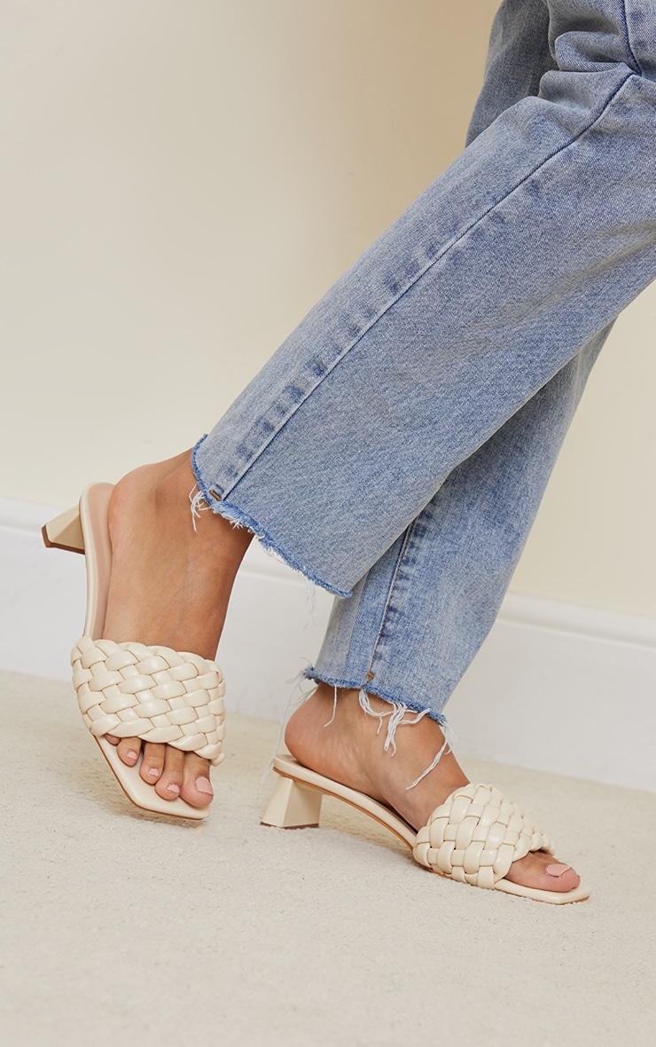Cream Plaited Strap Low Block Flare Heel Mules 2