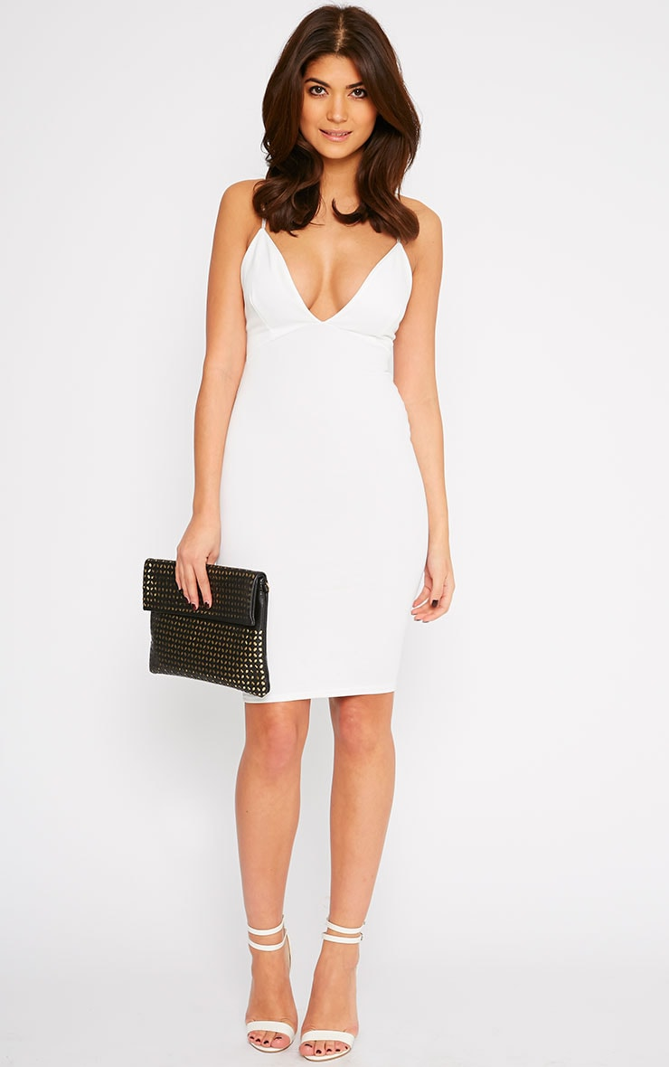 Nada Cream Plunge Cross Back Midi Dress 3