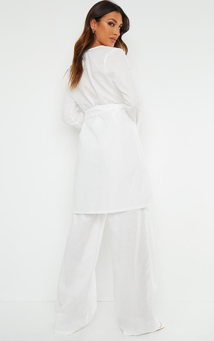 White Wooden Belted Long Sleeve Jacket 2