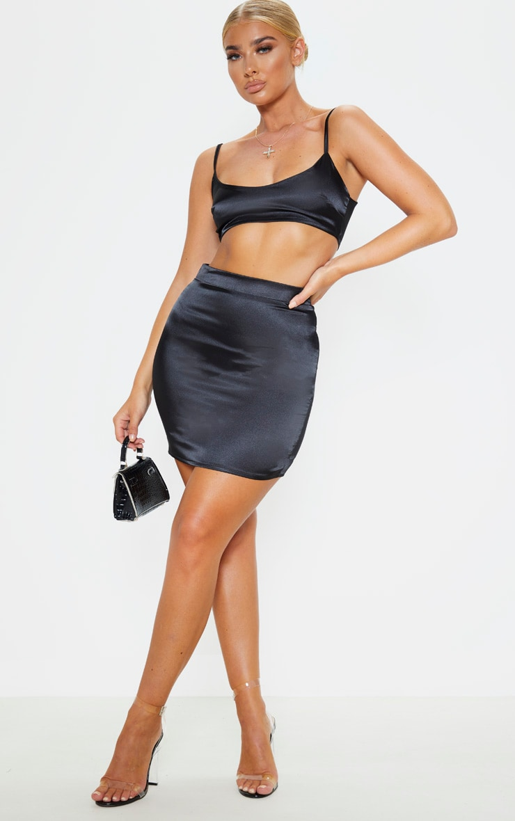 Black Satin High Waist Mini Skirt 5