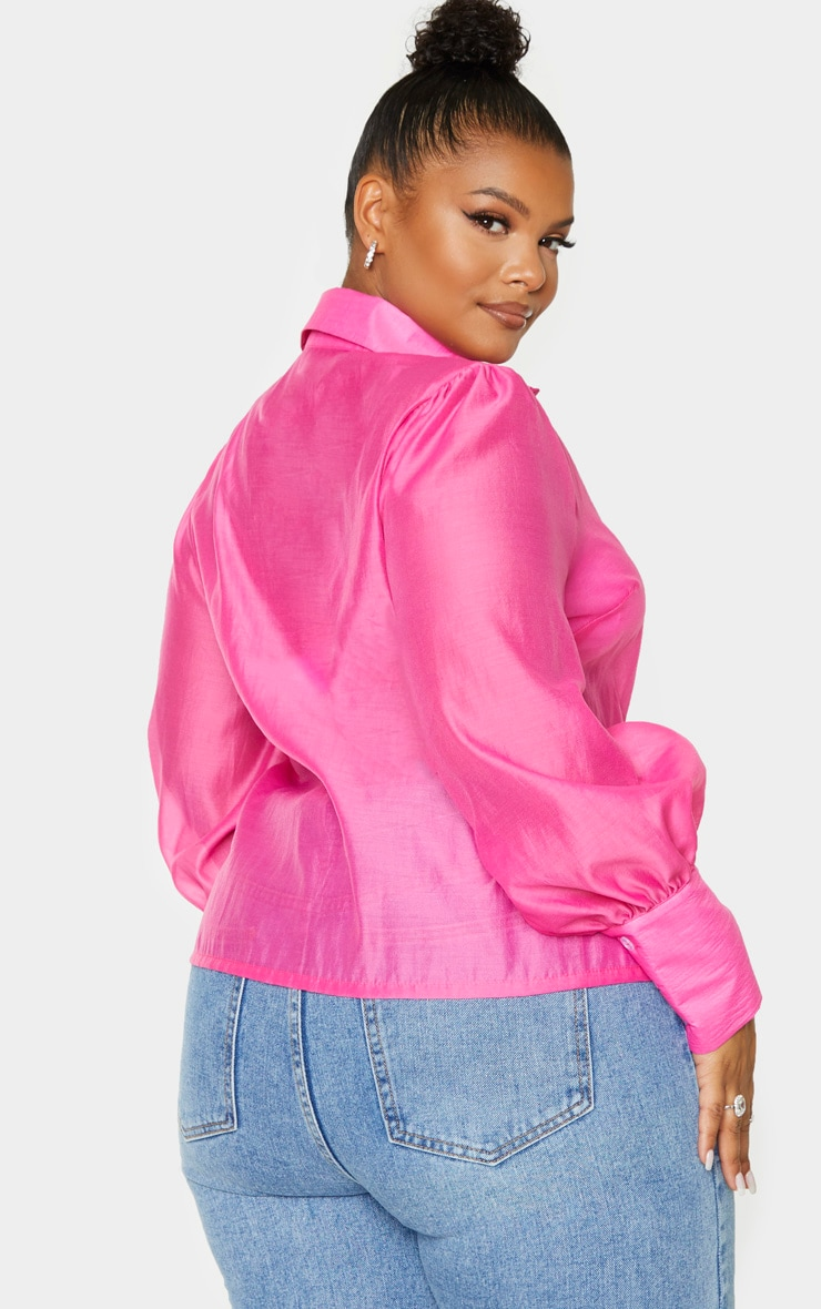 Plus Pink Sheer Woven Oversized Shirt 2