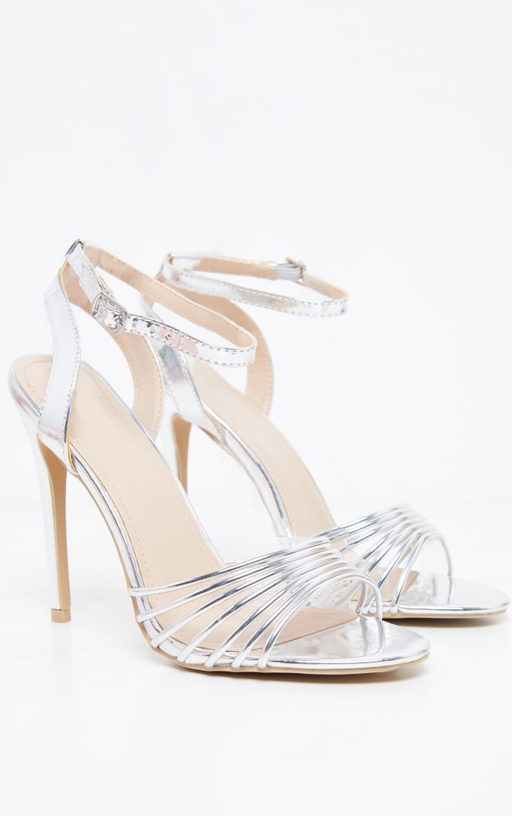 Silver Strappy Toe Metallic Sandal 3