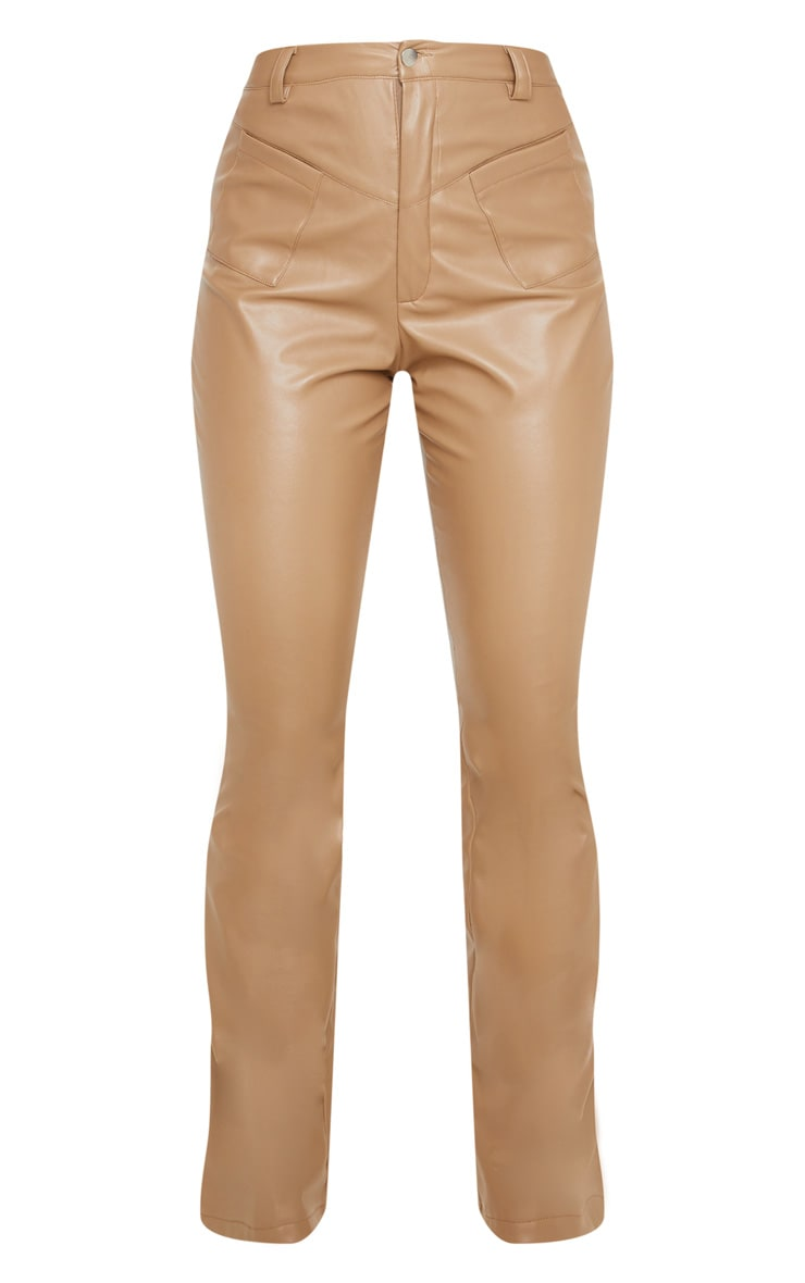 Camel Faux Leather Pocket Detail Straight Pants 3