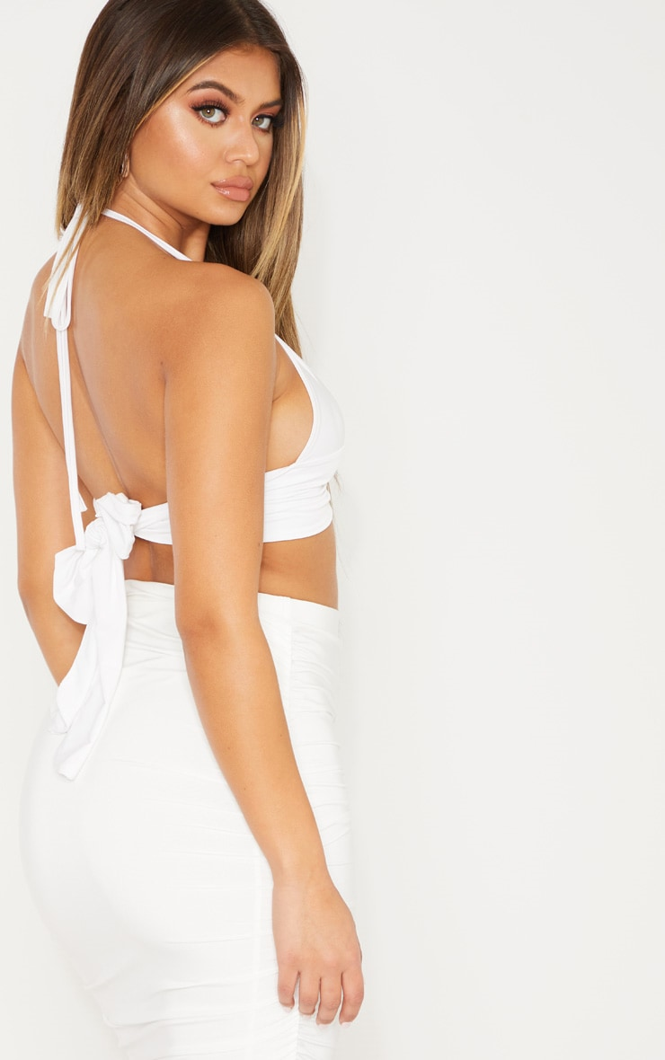White Plunge Ring Detail Bralet 2