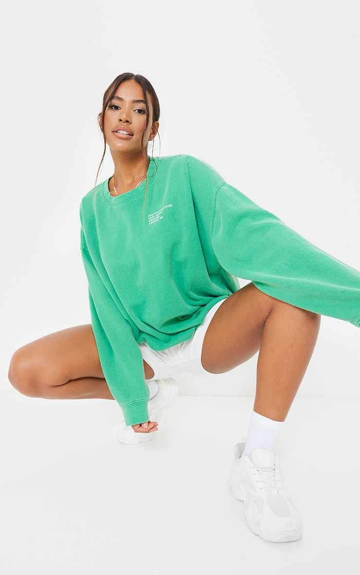 PRETTYLITTLETHING Green Luxe Good Small Print Text Sweat 3