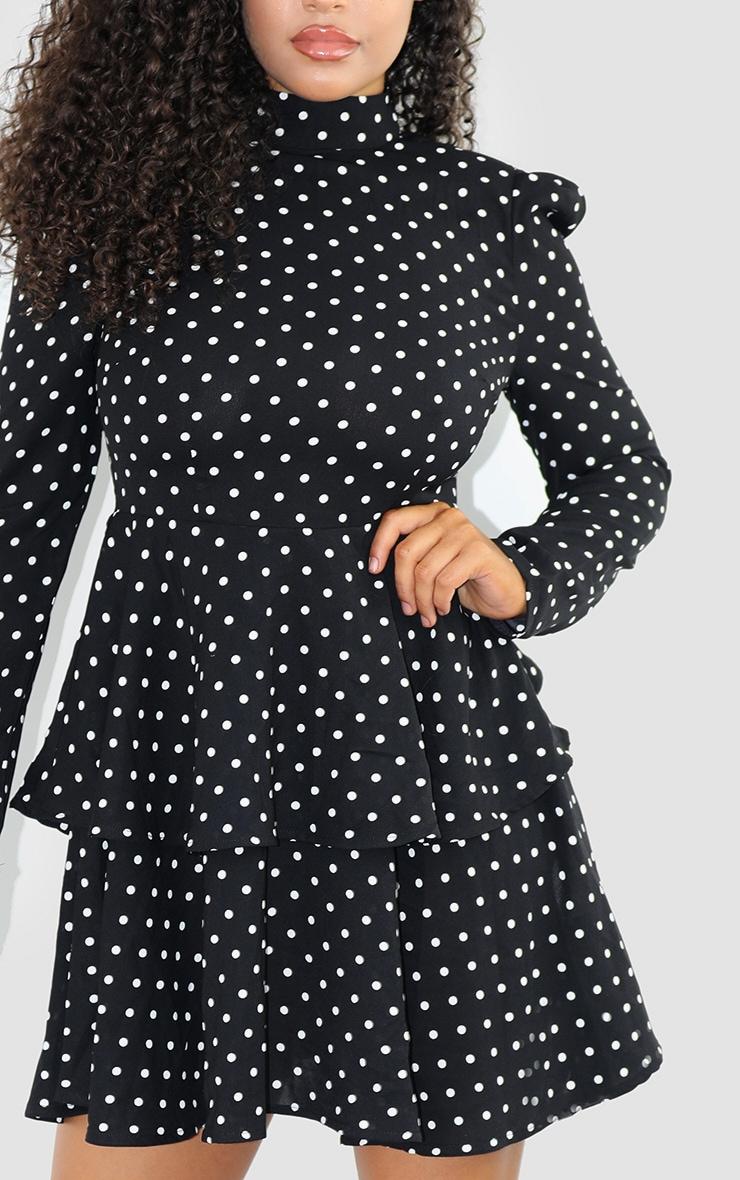 Black Polka Dot High Neck Tiered Skater Dress 4