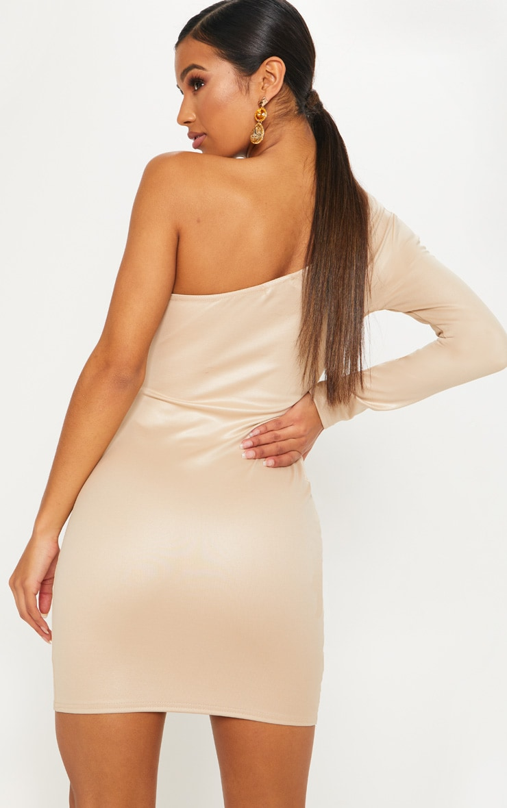 Nude Matte PU One Shoulder Wrap Dress 2