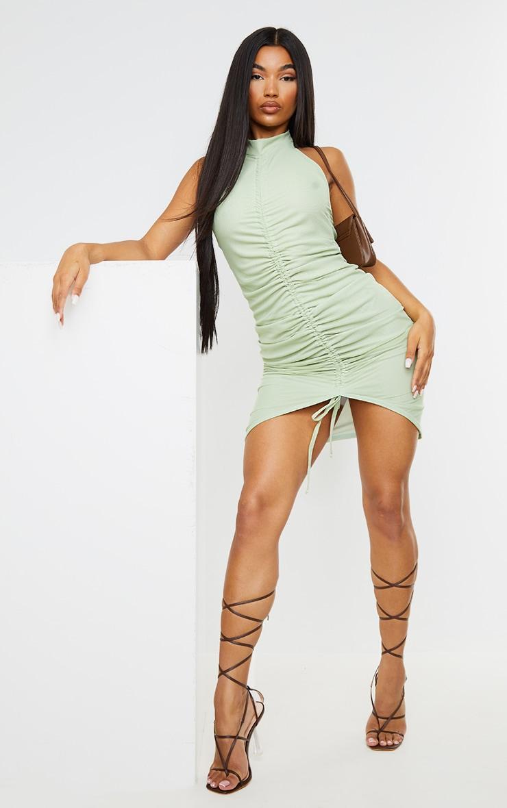 Mint Mesh Halterneck Ruched Bodycon Dress 3