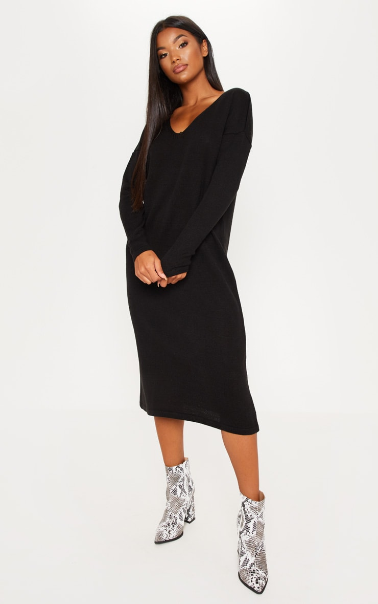Black Longline Knitted Dress 4
