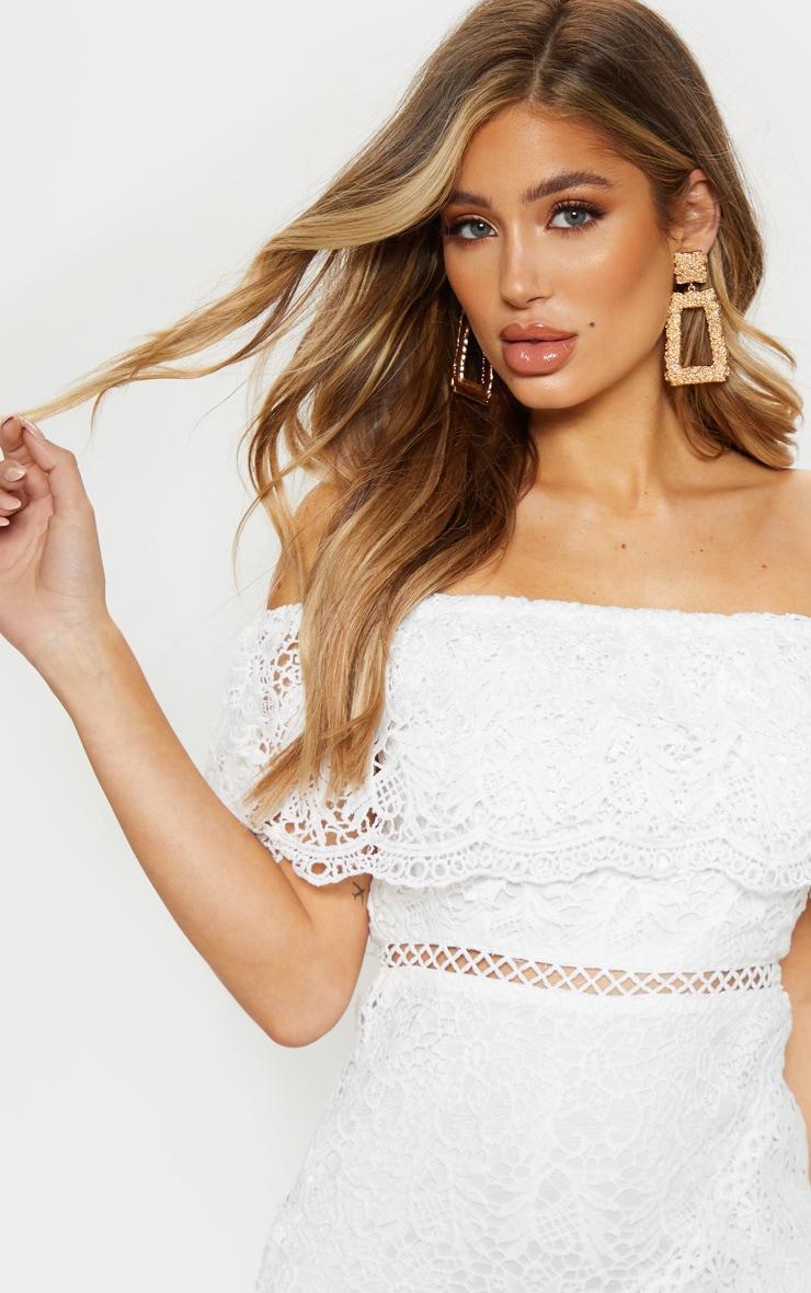 White Bardot Lace Shift Dress 5