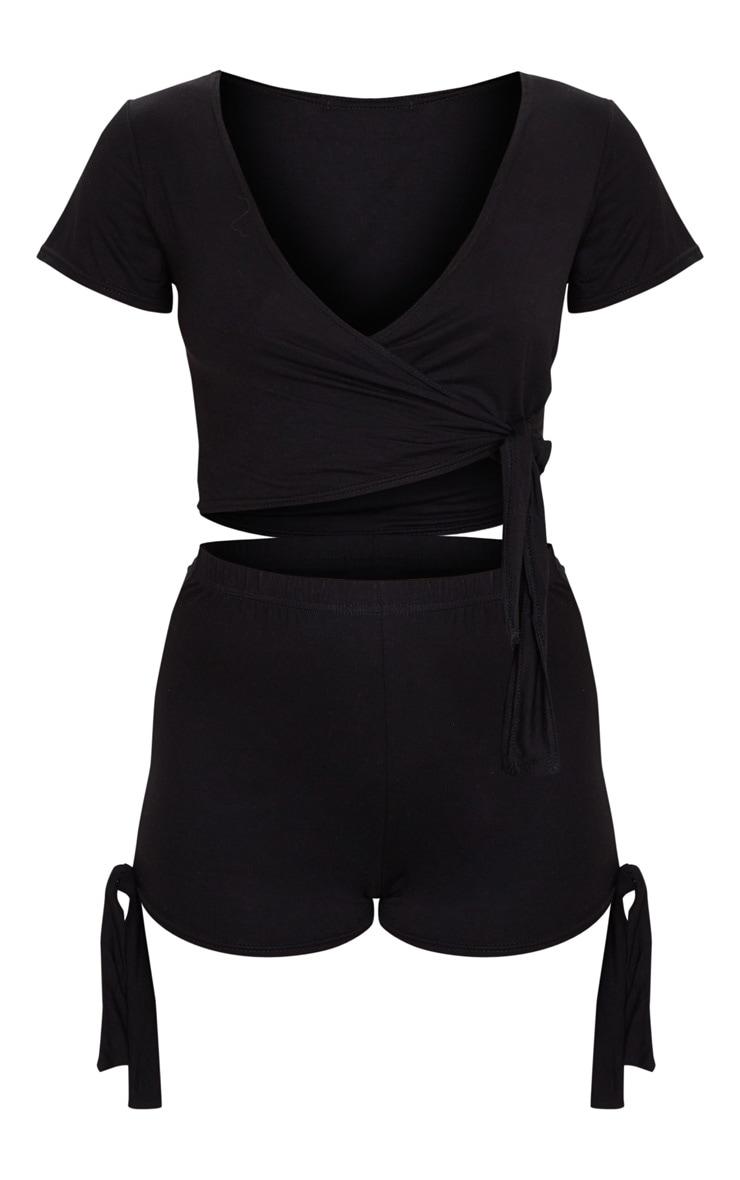 Black Basic Wrap Tie Front PJ Short Set 5