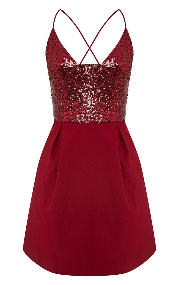 Lidia Wine Sequin Crepe Skater Dress 3