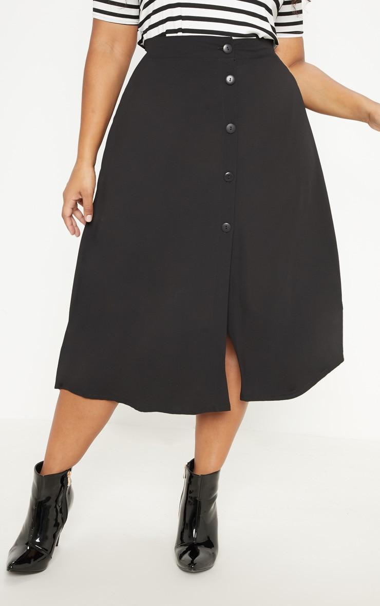 Plus Black Button Up Midi Skirt  2