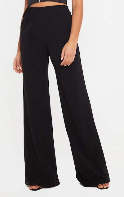 Black Crepe Pleat Front Wide Leg Trouser