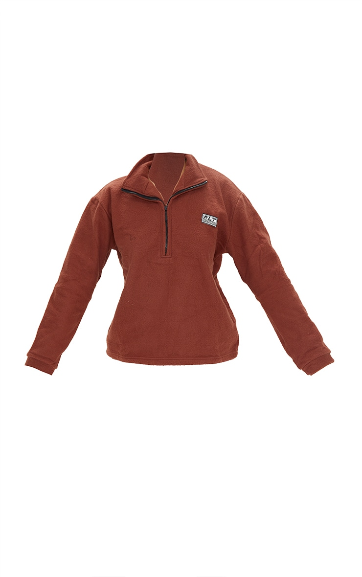 PRETTYLITTLETHING Chocolate Brown Soft Touch Badge Detail Funnel Neck Sweatshirt 5