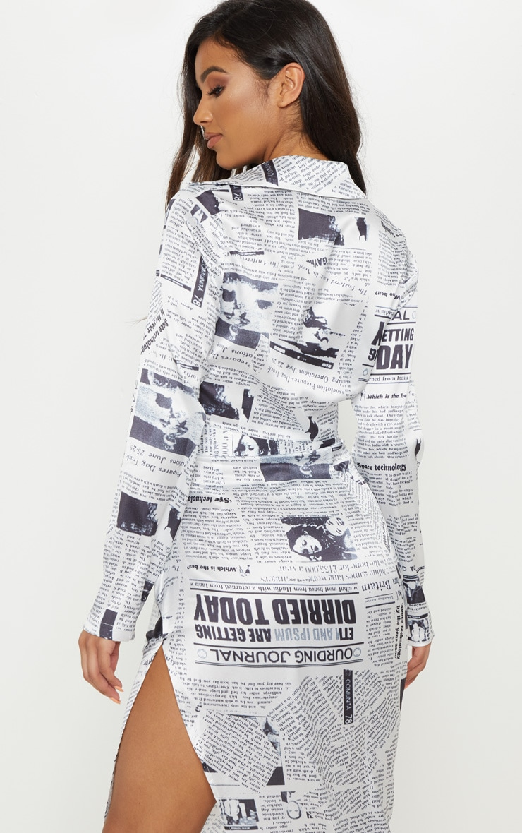 Monochrome Satin Newspaper Print Tie Front Blouse 2