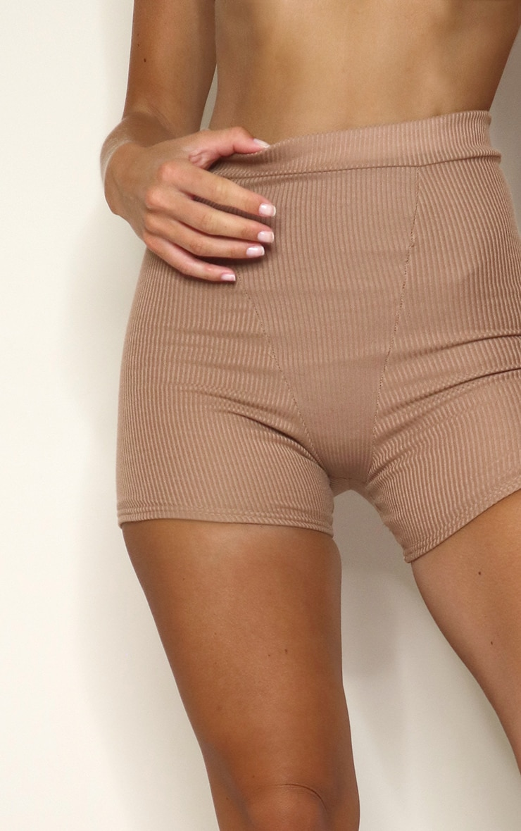 Mocha Ribbed Cycle Shorts 4