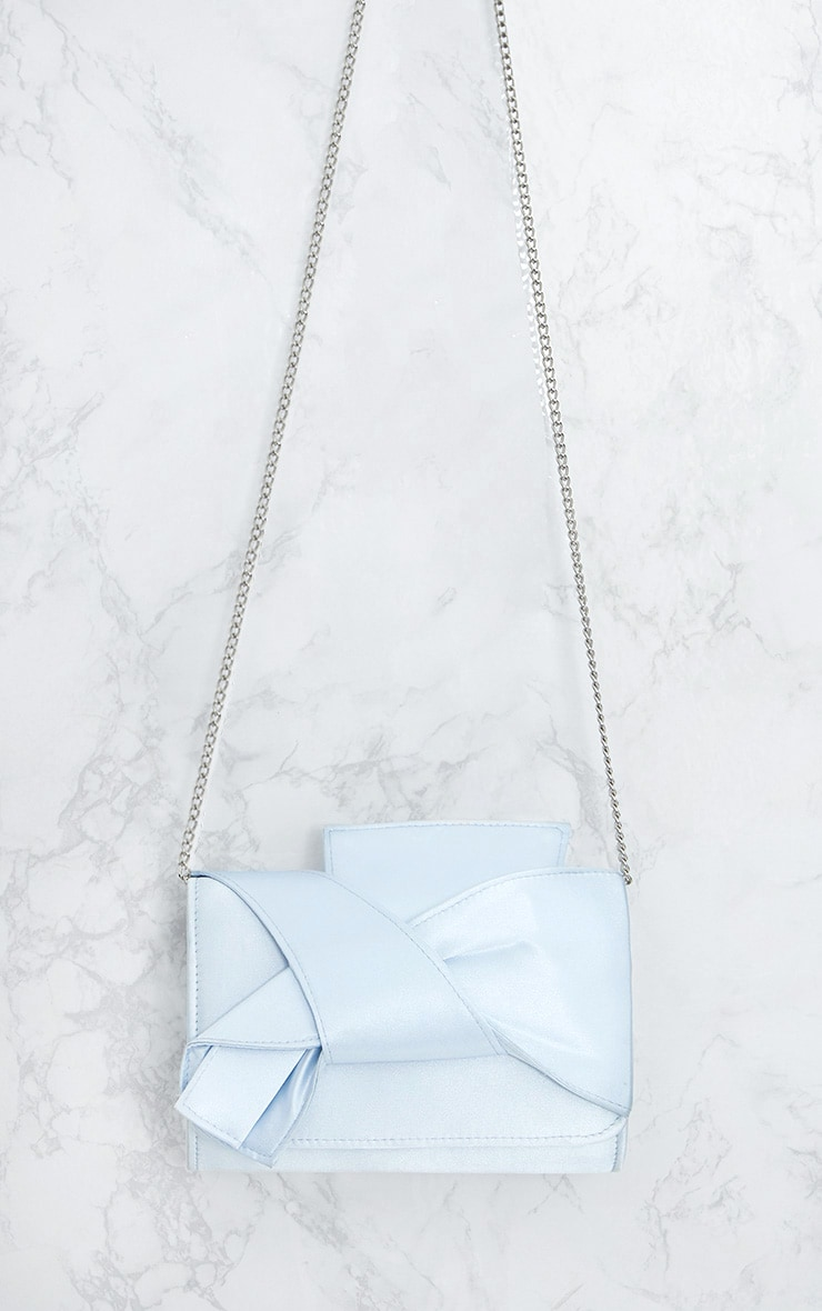 Dusty Blue Satin Bow Bag 5