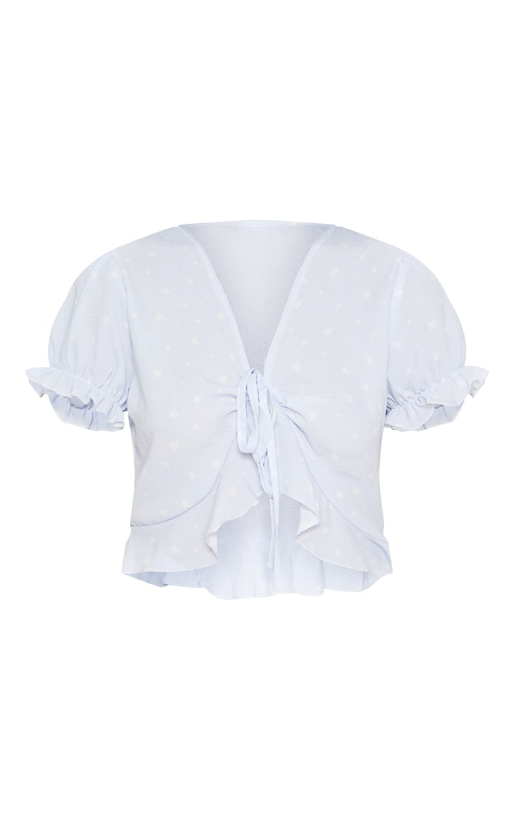 Pale Blue Chiffon Star Print Puff Sleeve Blouse  3