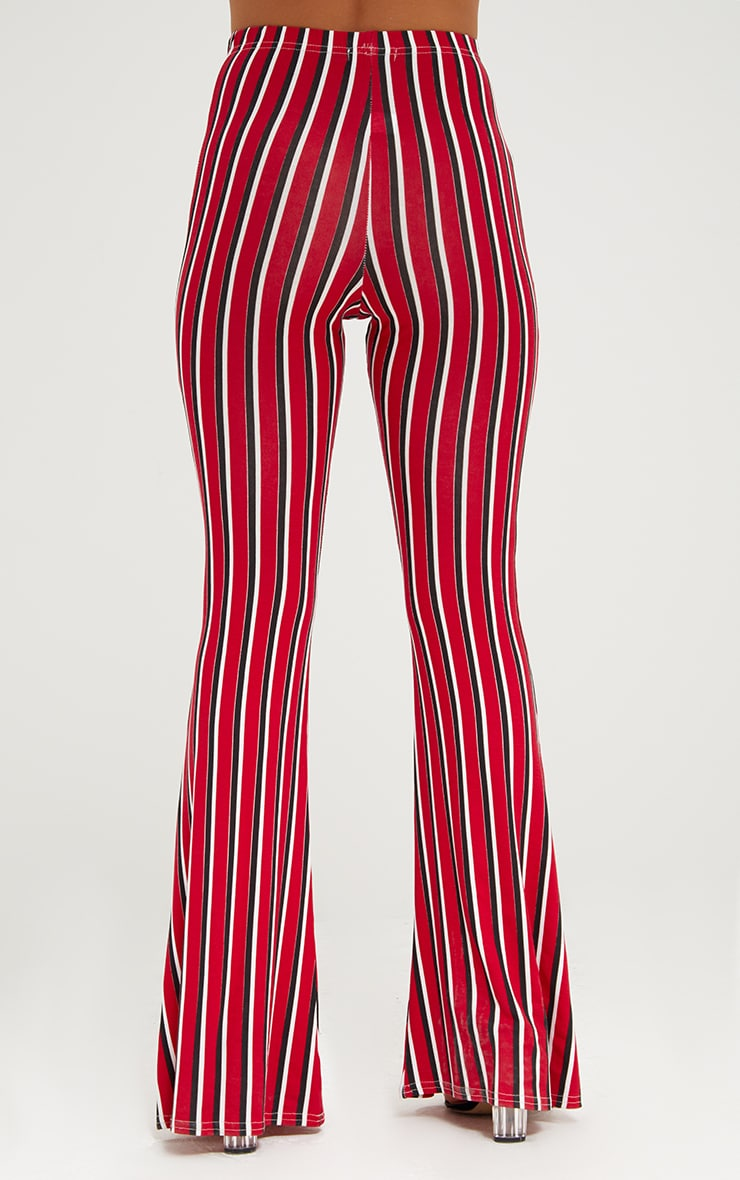 Red Jersey Vertical Stripe Flared Pants 4