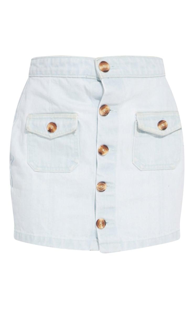 Petite Bleach Wash Button Front Denim Mini Skirt 6