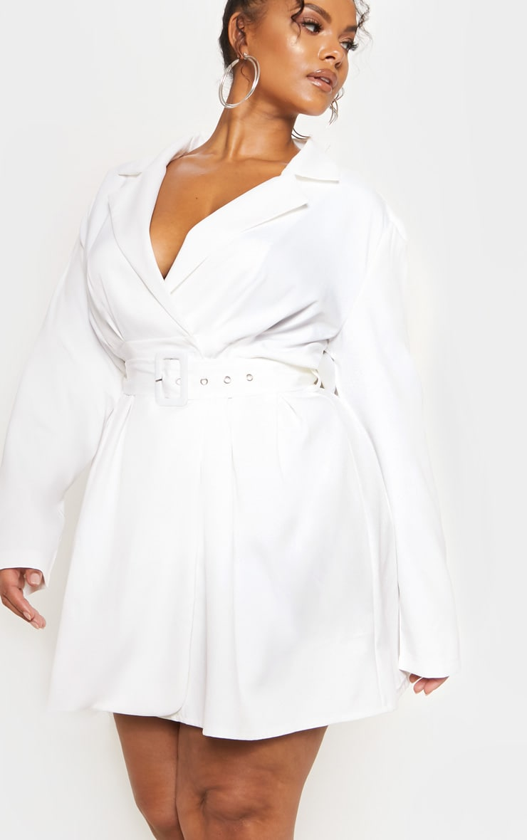 White Belt Detail Blazer Dress 6