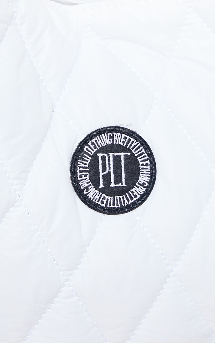 PRETTYLITTLETHING White Quilted Badge Tote Bag 4