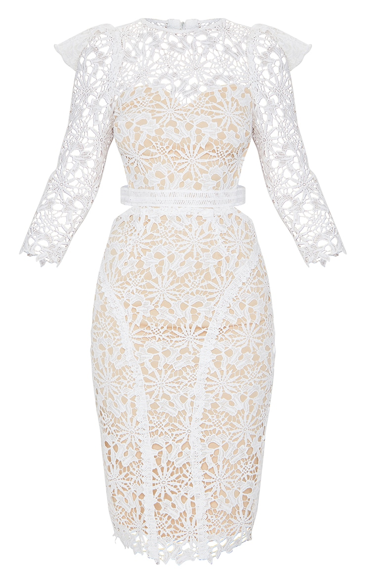 White Lace Open Back Long Sleeve Midi Dress 5