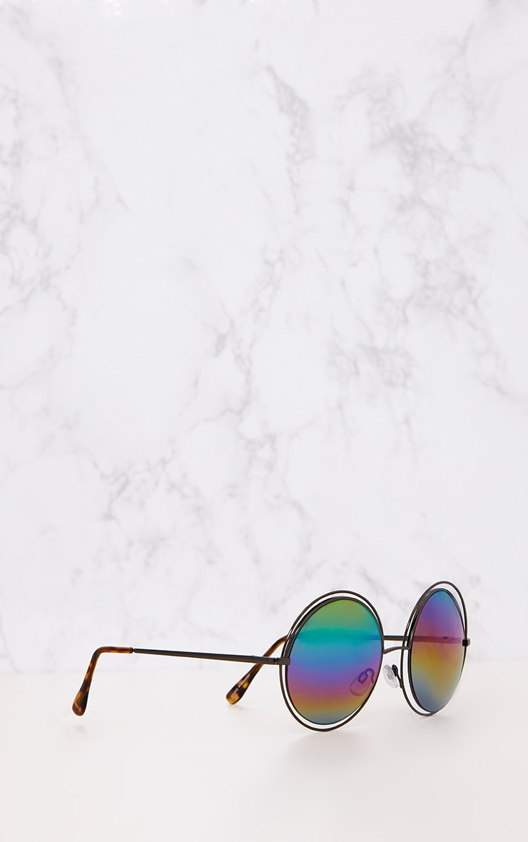 Rainbow Lens Doubled Frame Round Sunglasses 4