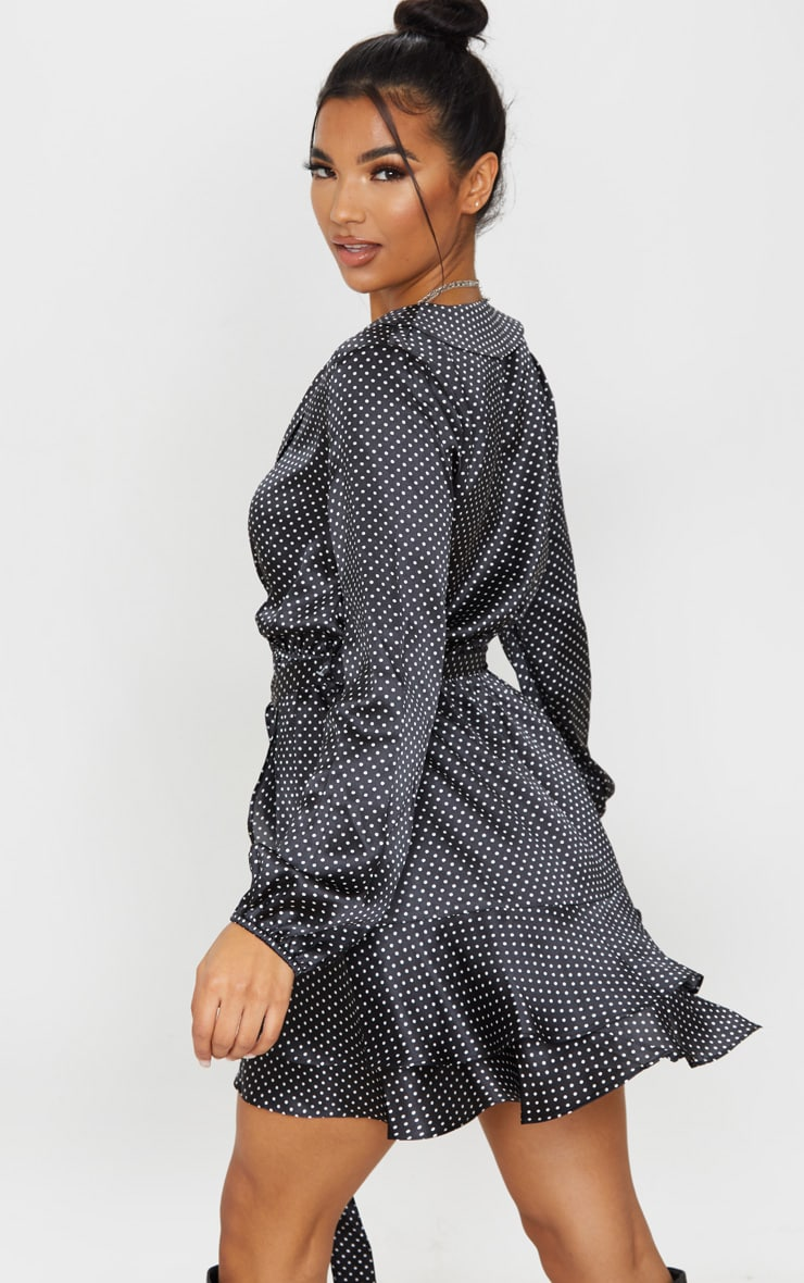 Black Polka Dot Satin Frill Hem Tea Dress 2