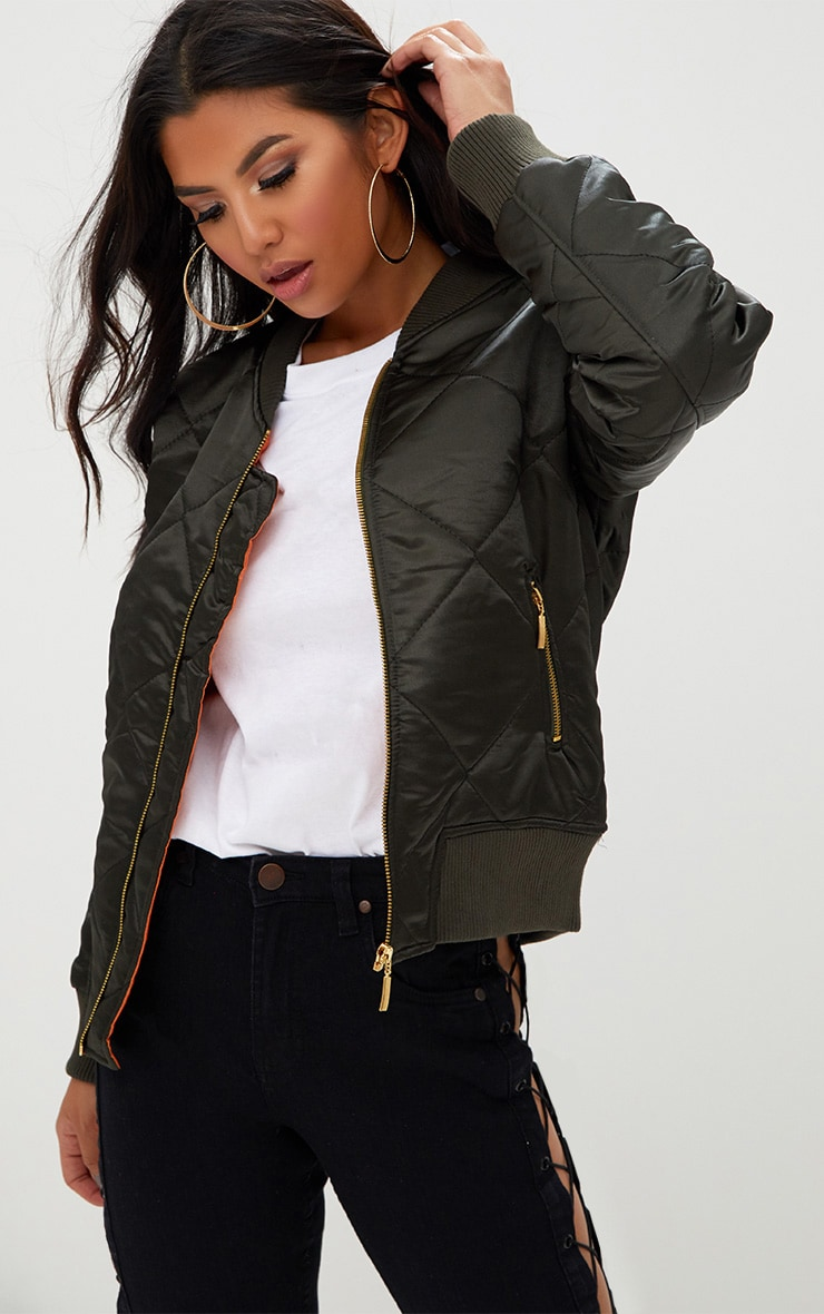 Khaki Satin Quilted Bomber Jacket 1