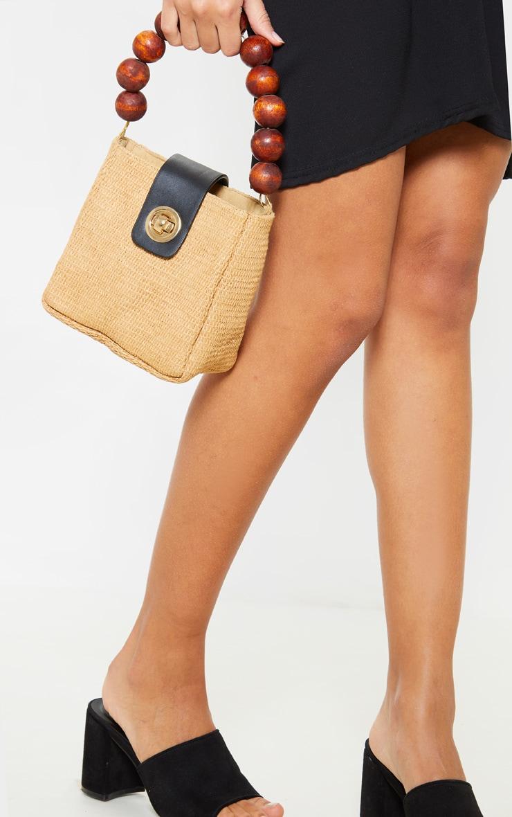 Natural Straw And Wooded Beaded Grab Bag 1