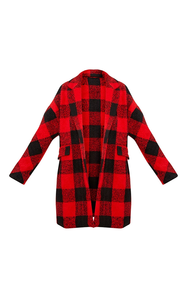 Stefanie Red Checked Oversized Coat 3